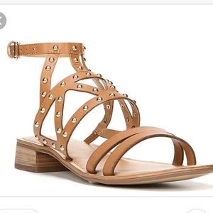 Franco Sarto Tan Gold Studded Strappy Sandals